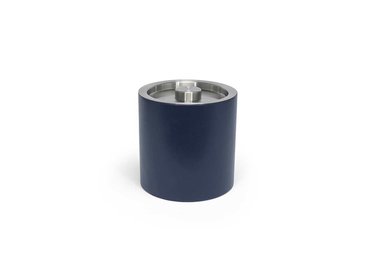3.5qt Round London Ice Bucket - Navy with Brushed Stainless Lid