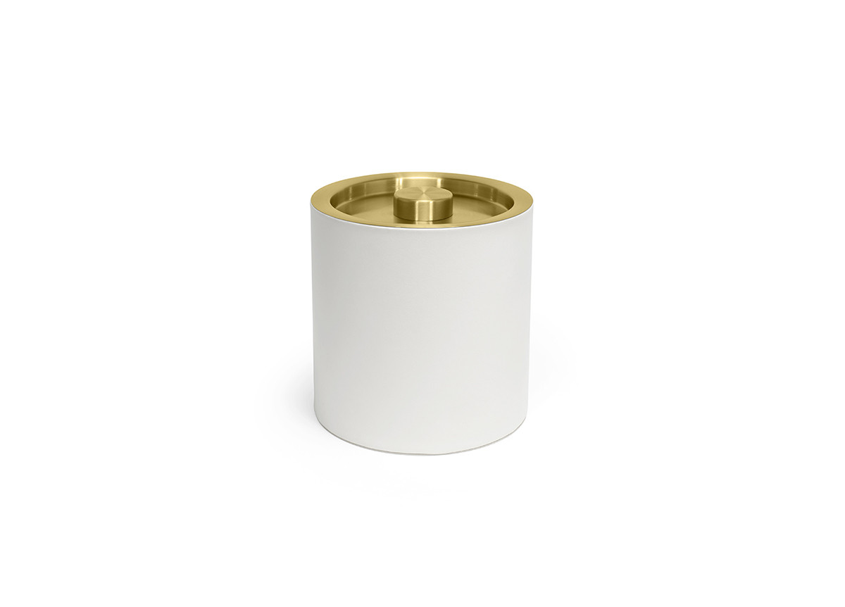 3.5qt Round London Ice Bucket - White with Matte Brass Lid