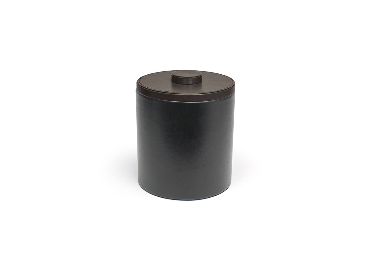 3.5qt Round London Ice Bucket - Black with Brown Lid