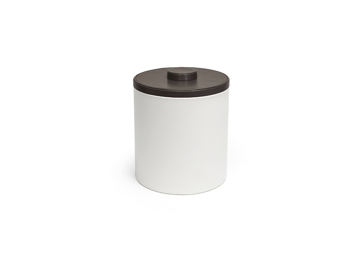 3.5qt Round London Ice Bucket - White with Brown Lid