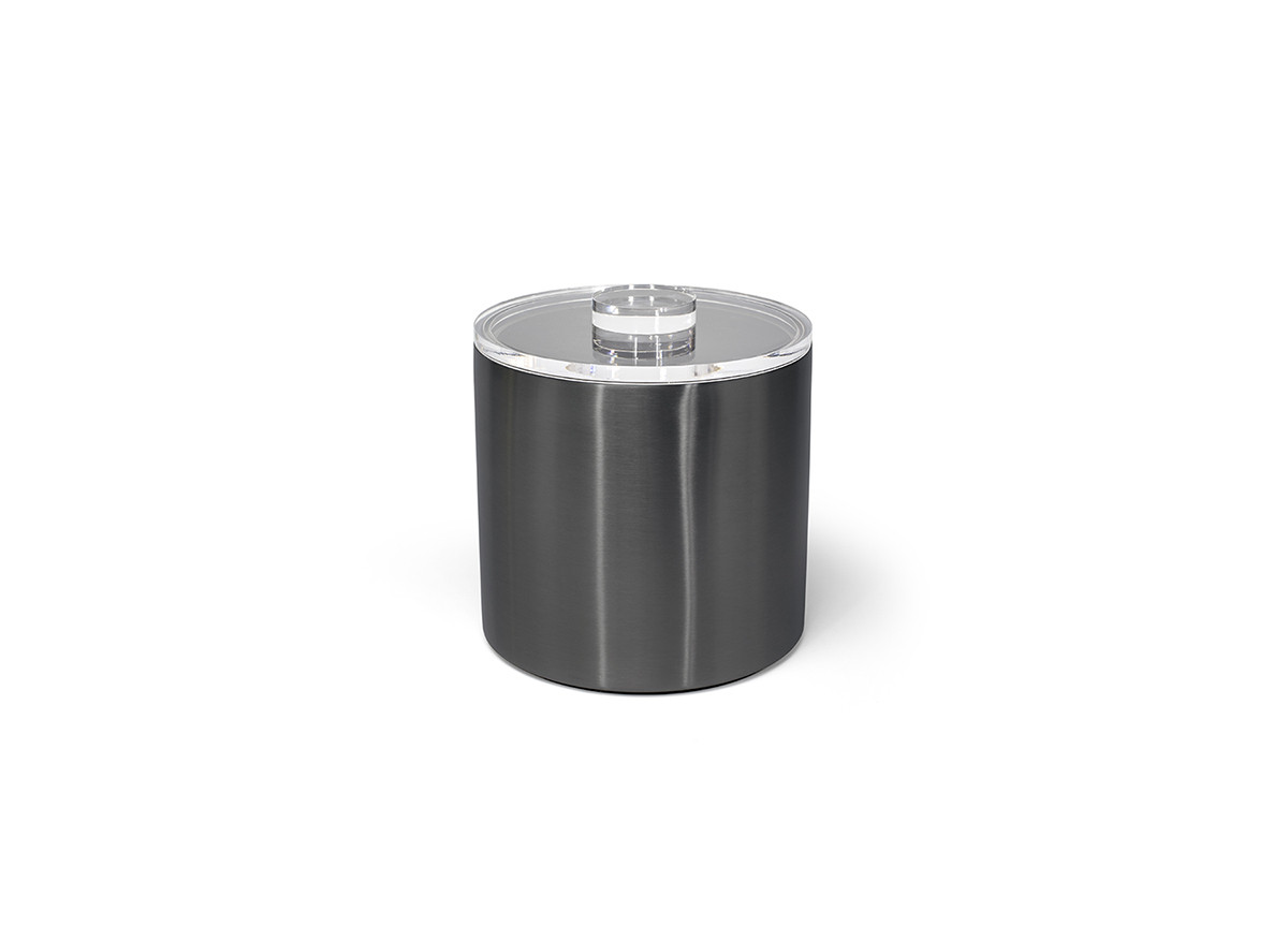 3qt Round Brushed Stainless Ice Bucket - Matte Black with Acrylic Lid