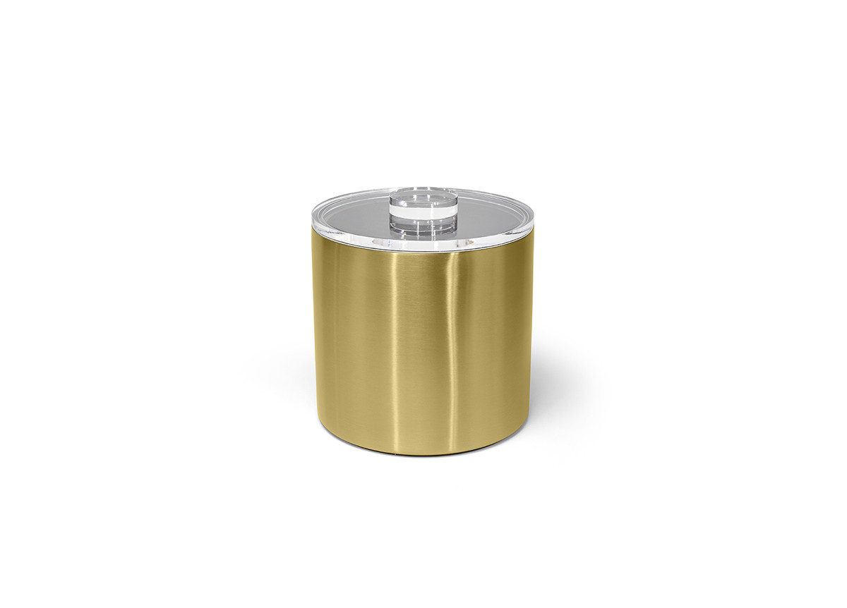 3qt Round Brushed Stainless Ice Bucket - Matte Brass with Acrylic Lid