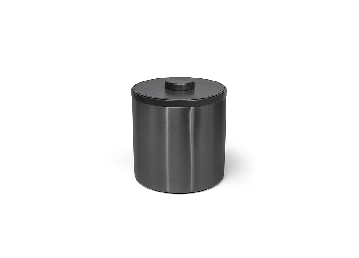 3qt Round Brushed Stainless Ice Bucket - Matte Black with Black Lid
