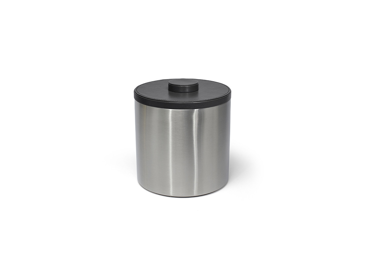 3qt Round Brushed Stainless Ice Bucket - Silver with Black Lid