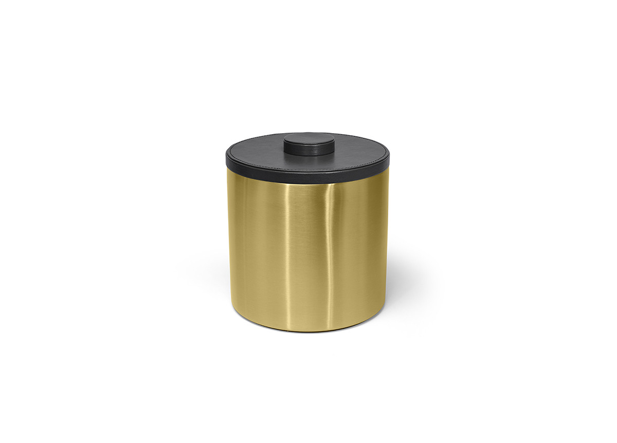 3qt Round Brushed Stainless Ice Bucket - Matte Brass with Black Lid