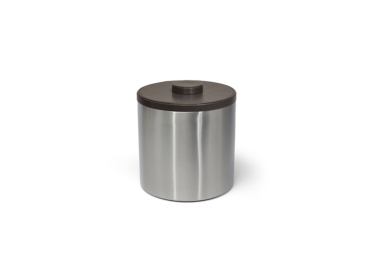 3qt Round Brushed Stainless Ice Bucket - Silver with Brown Lid