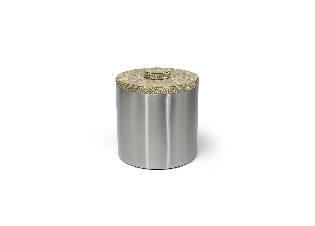 3qt Round Brushed Stainless Ice Bucket - Silver with Dune Lid