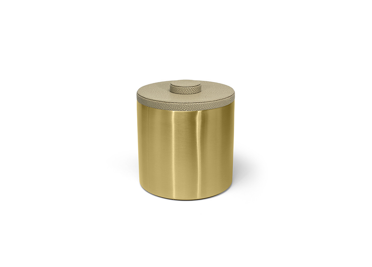 3qt Round Brushed Stainless Ice Bucket - Matte Brass with Dune Lid