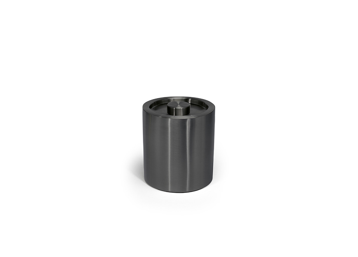 2qt Round Brushed Stainless Ice Bucket - Matte Black with Matte Black Lid