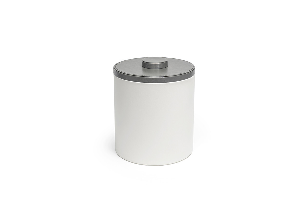 3.5qt Round London Ice Bucket - White with Smoke Lid
