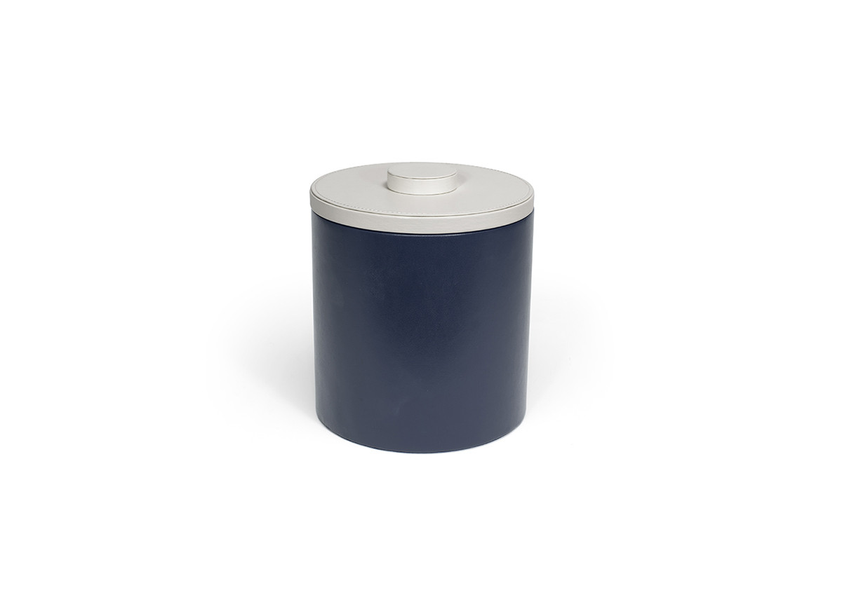 3.5qt Round London Ice Bucket - Navy with White Lid
