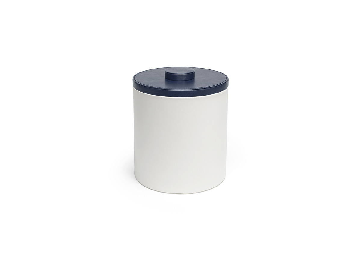 3.5qt Round London Ice Bucket - White with Navy Lid