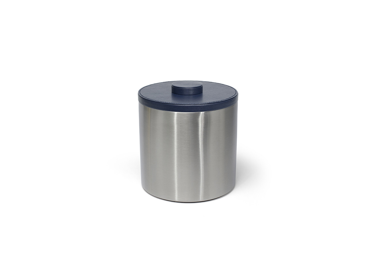 3qt Brushed Stainless Ice Bucket - Silver with London Navy Lid