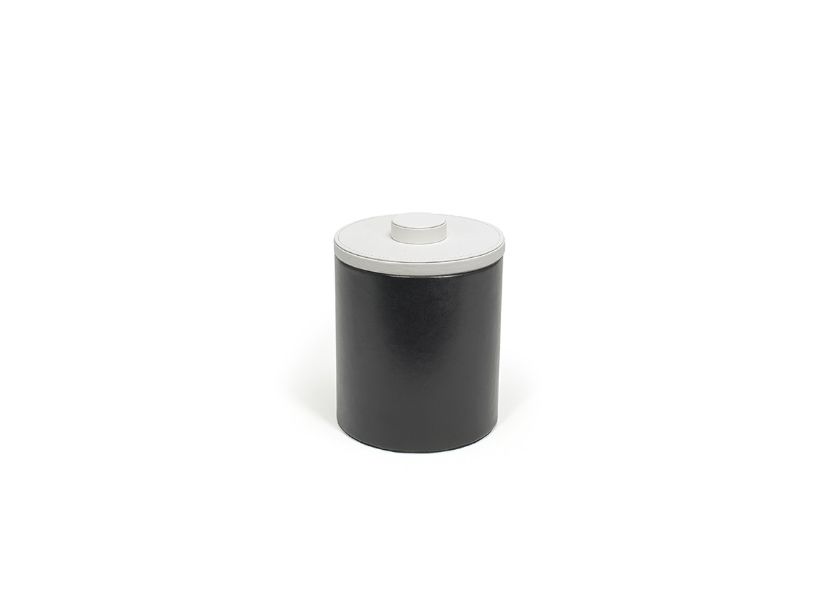 2qt Round London Ice Bucket - Black with White Lid