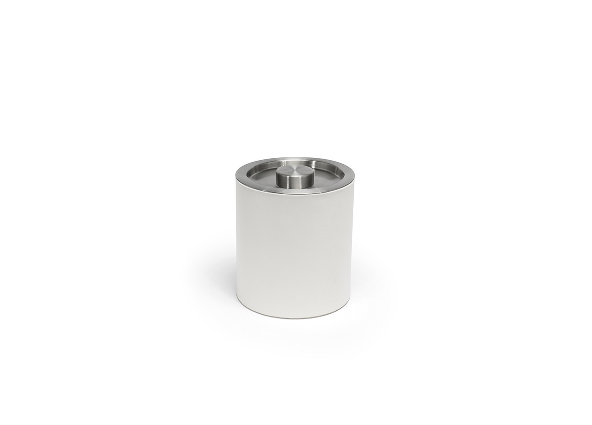 2qt Round London Ice Bucket - White with Brushed Stainless Lid