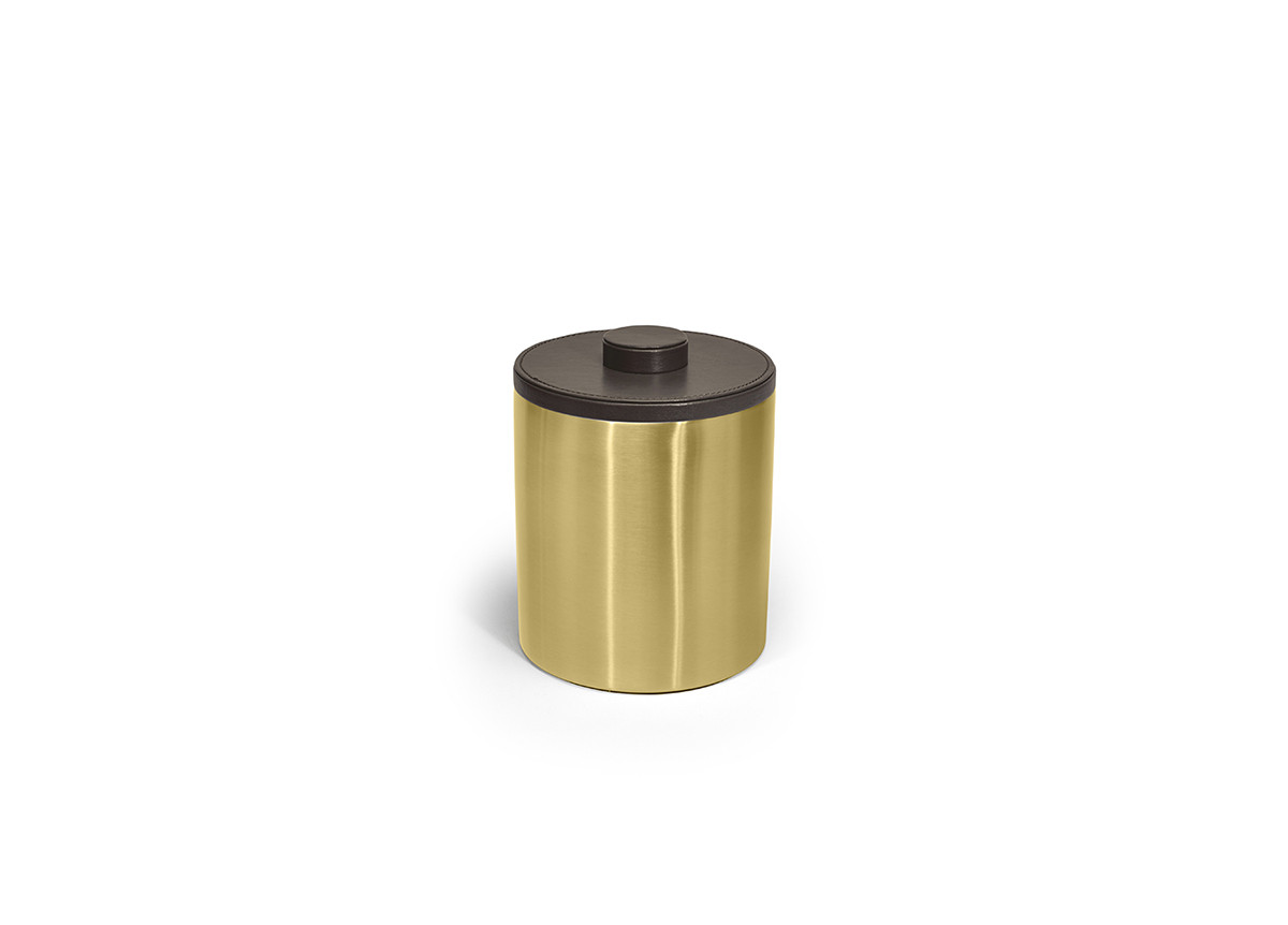 2qt Brushed Stainless Ice Bucket - Matte Brass with London Brown Lid