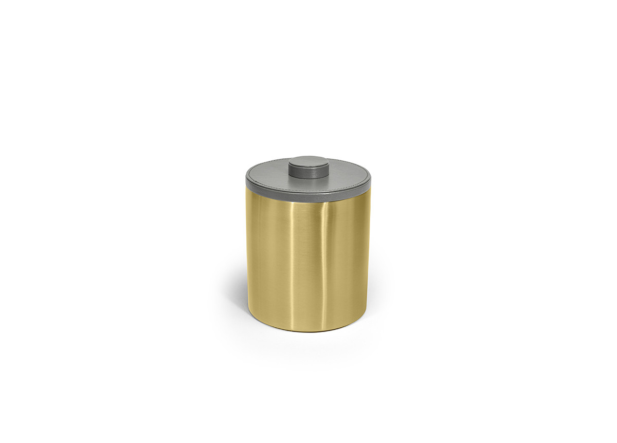 2qt Brushed Stainless Ice Bucket - Matte Brass with London Smoke Lid