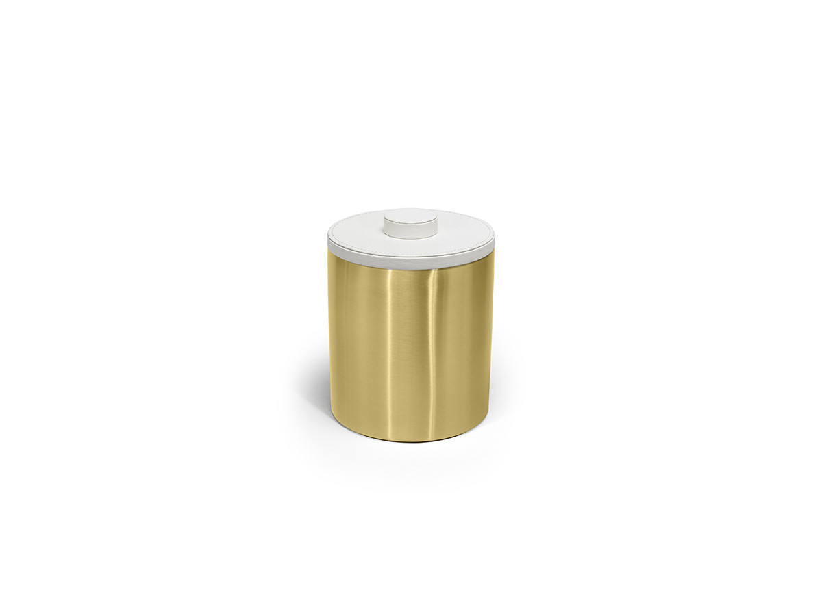 2qt Brushed Stainless Ice Bucket - Matte Brass with London White Lid
