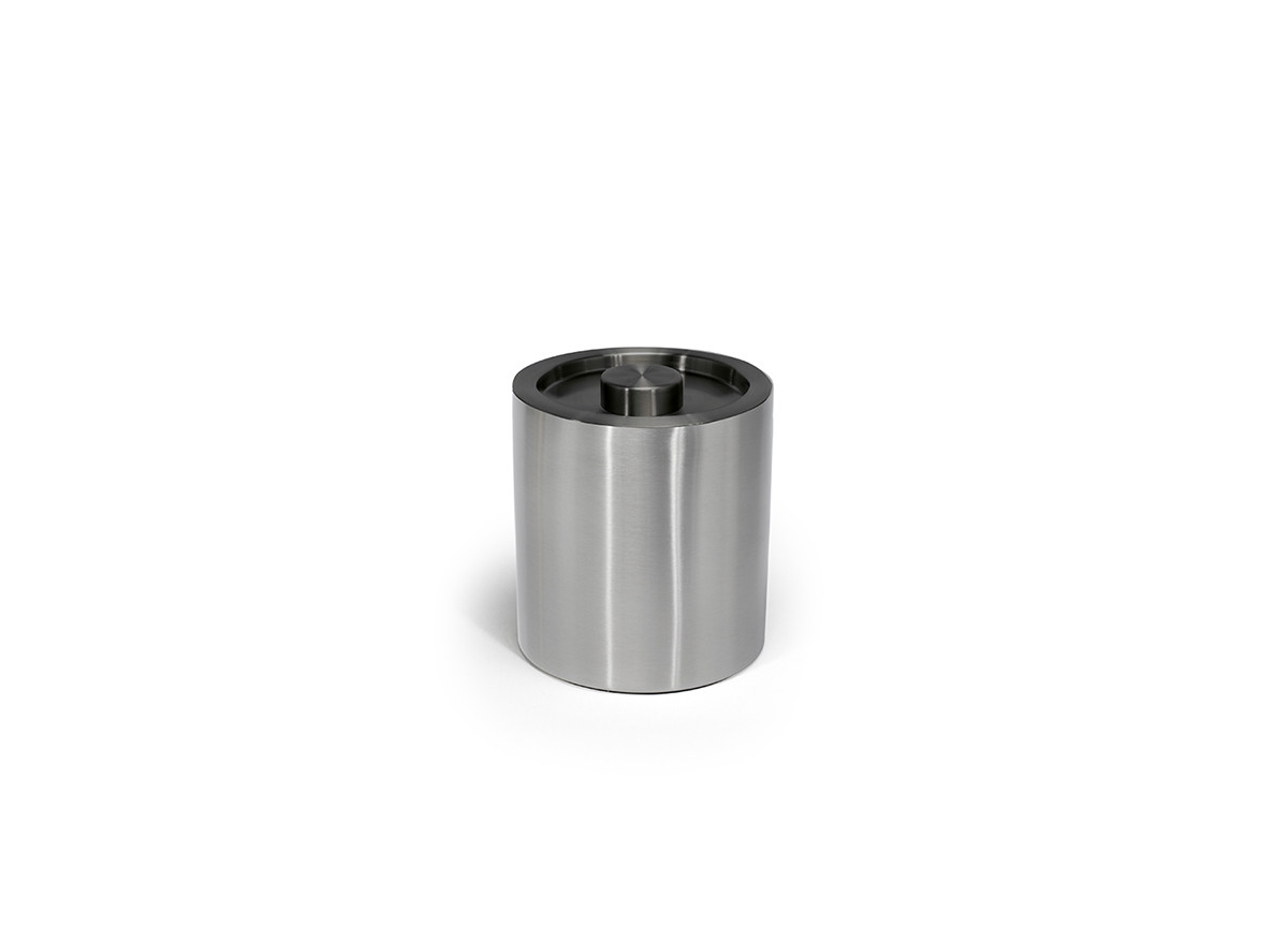 2qt Brushed Stainless Ice Bucket - Silver with Matte Black Lid