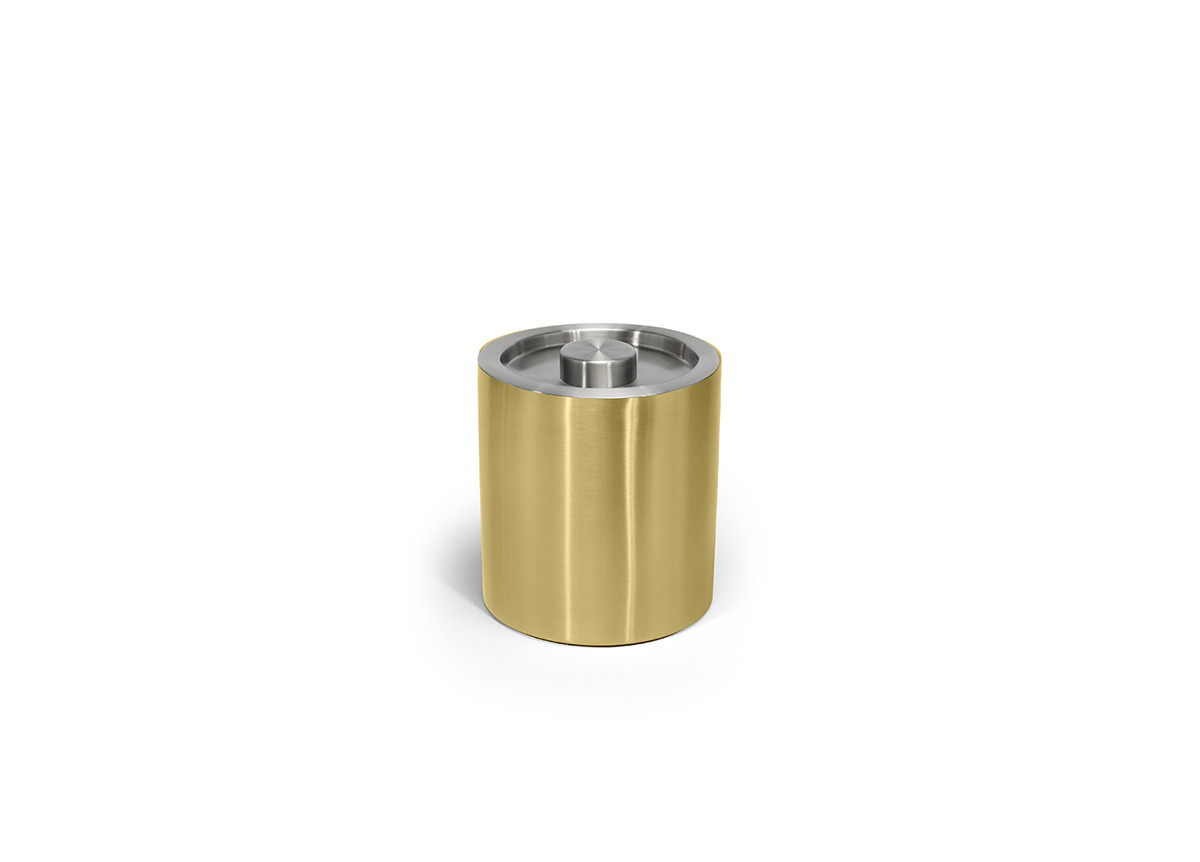2qt Brushed Stainless Ice Bucket - Matte Brass with Silver Lid