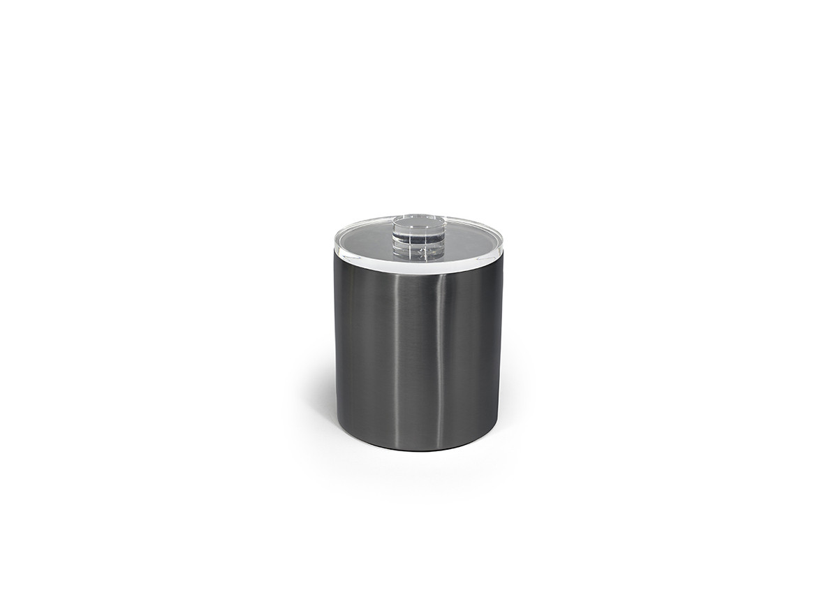 2qt Brushed Stainless Ice Bucket - Matte Black with Acrylic Lid