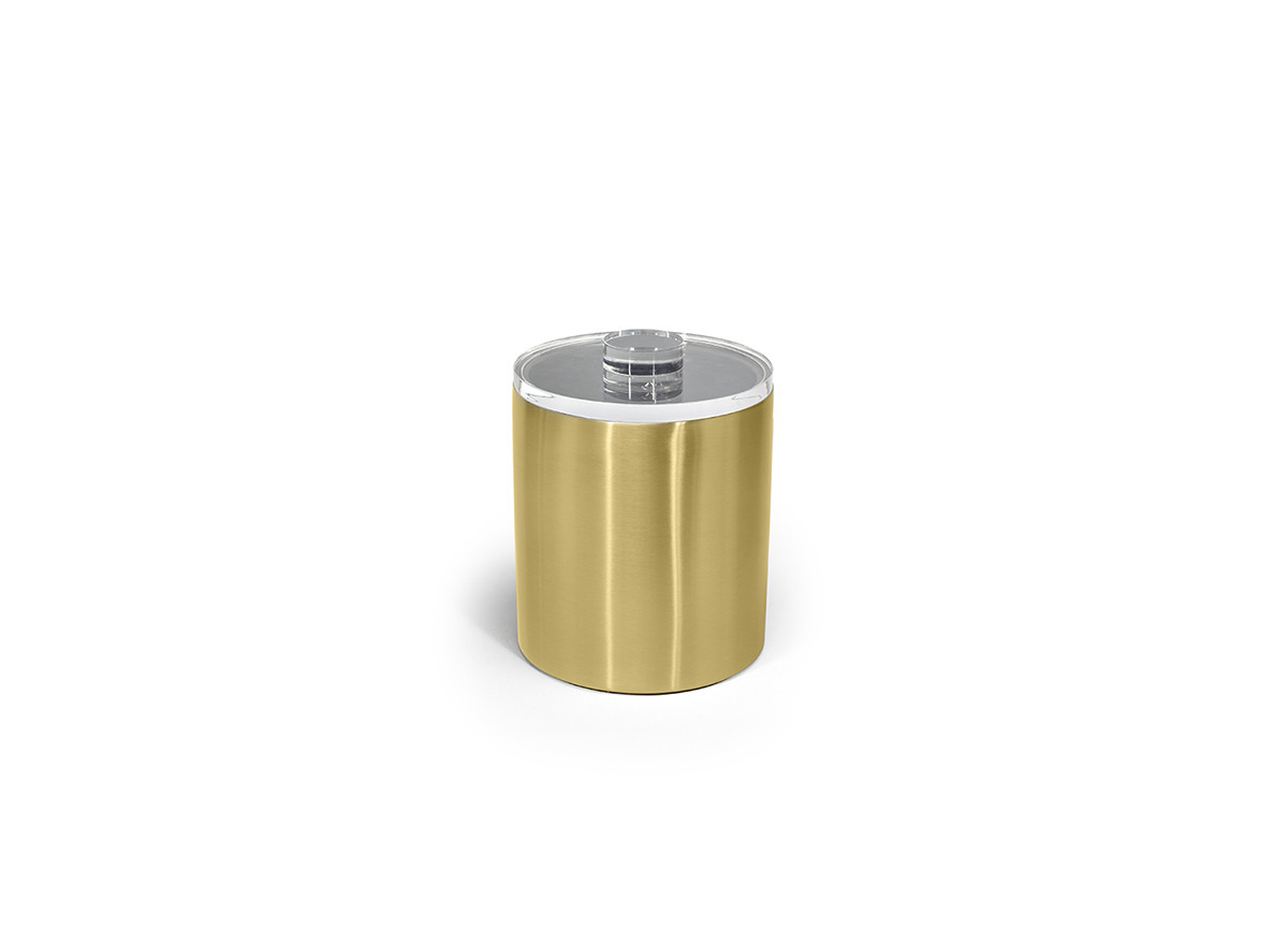 2qt Brushed Stainless Ice Bucket - Matte Brass with Acrylic Lid