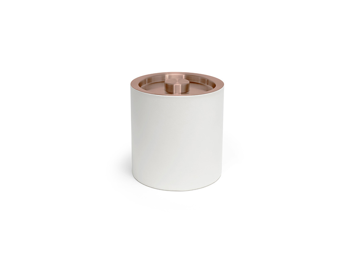 3.5qt Round London Ice Bucket - White with Rose Gold Lid