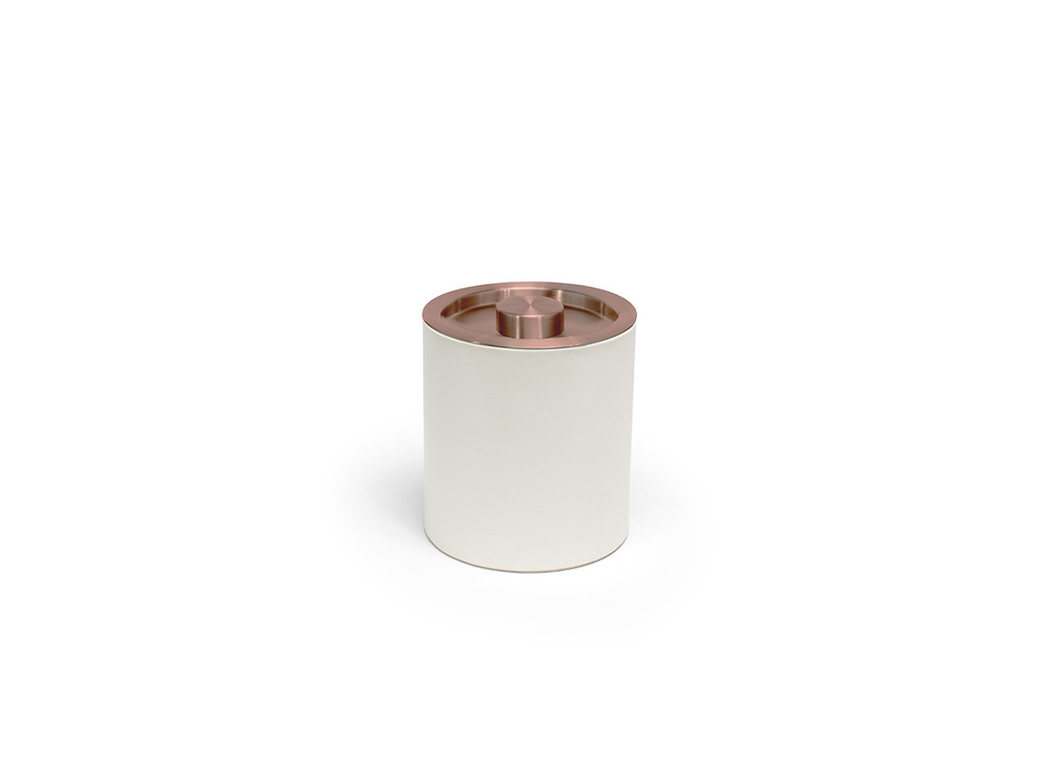 2qt Round London Ice Bucket - White with Rose Gold Lid