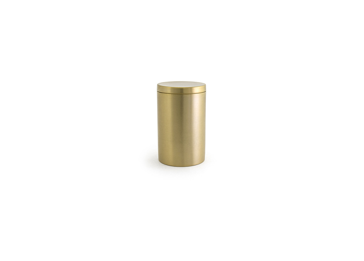 Brushed Stainless Jar with Lid - Matte Brass with Matte Brass Lid