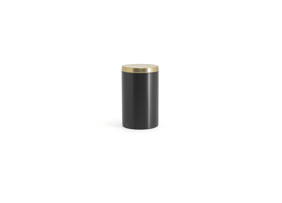 Brushed Stainless Jar with Lid - Matte Black with Matte Brass Lid