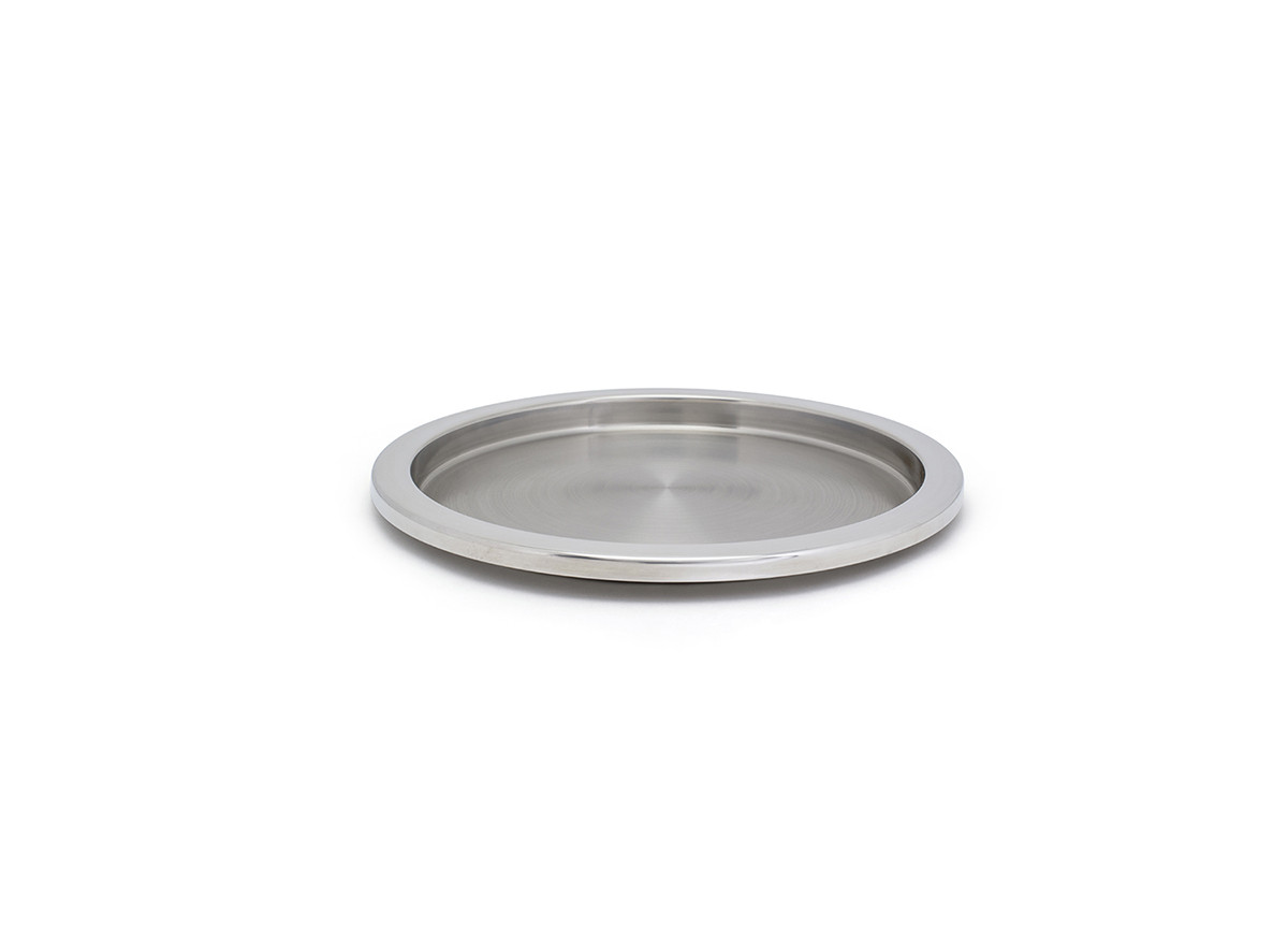 "14"" Round Brushed Stainless Tray - Silver"