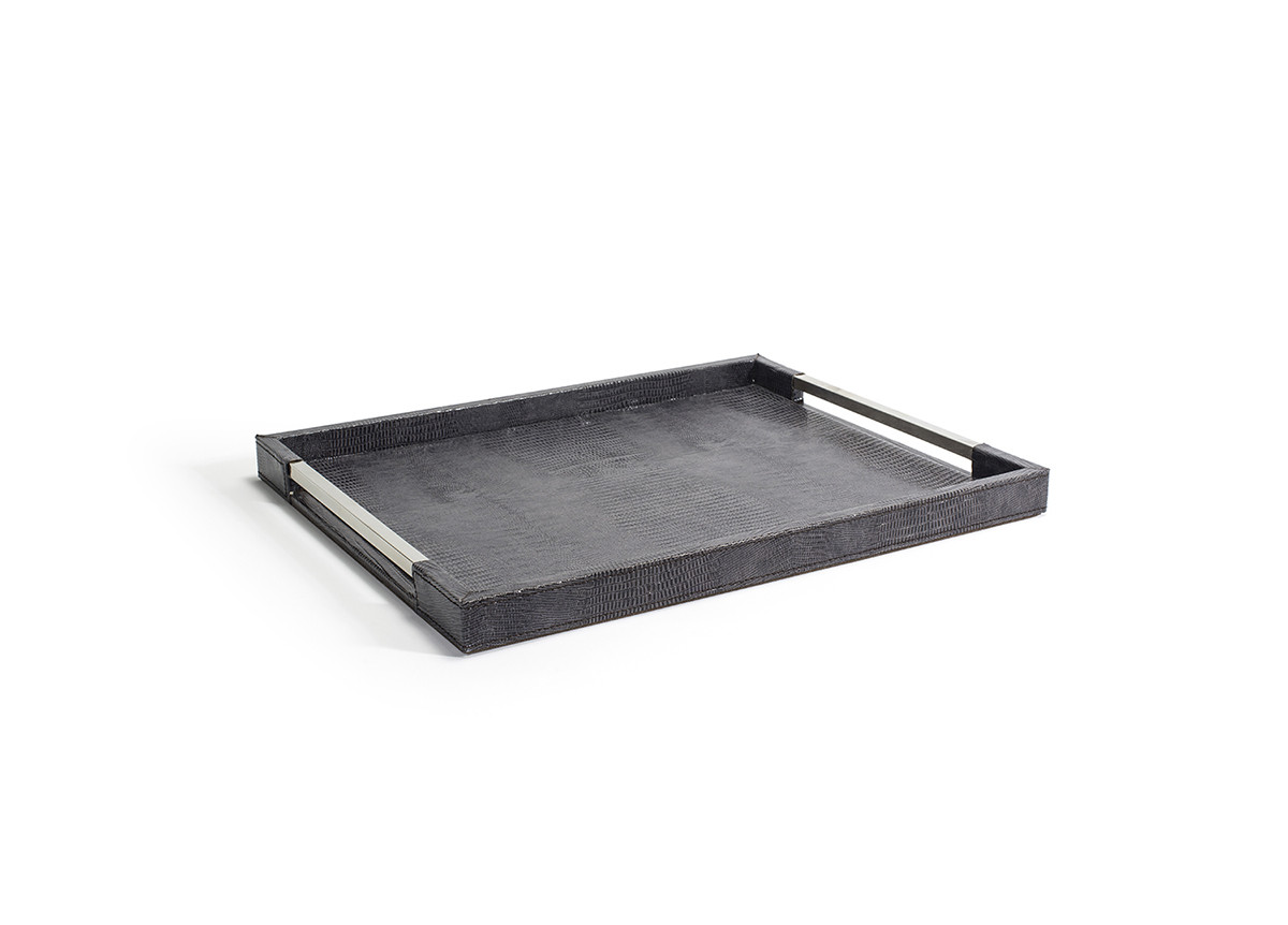 "16"" x 12.75"" Sumatra Handled Tray - Graphite"
