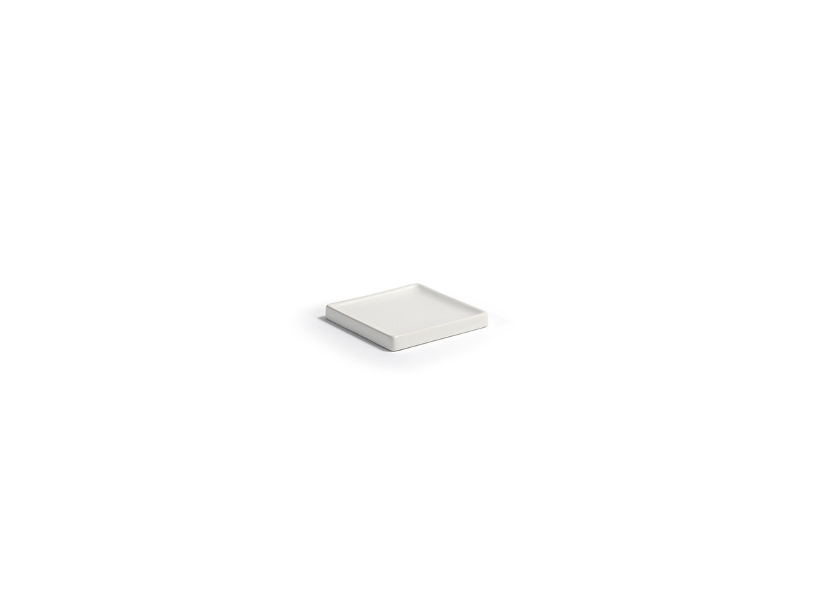 "4"" Square Stoneware Soap Dish - White"