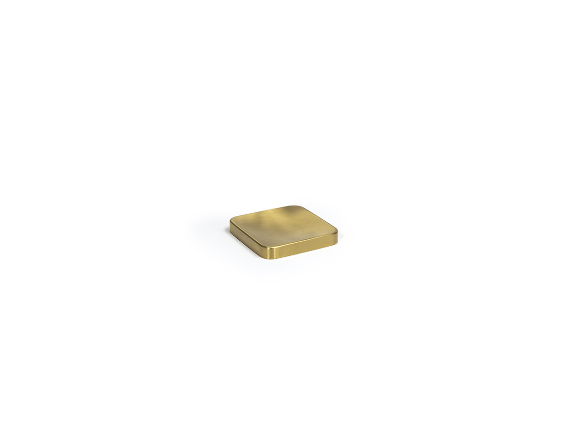 "4"" Square Brushed Stainless Soap Dish - Matte Brass"