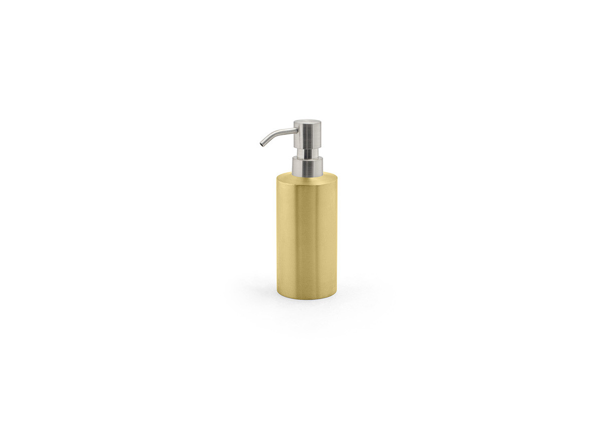 12oz Brushed Stainless Pump - Matte Brass with Mirrored Top