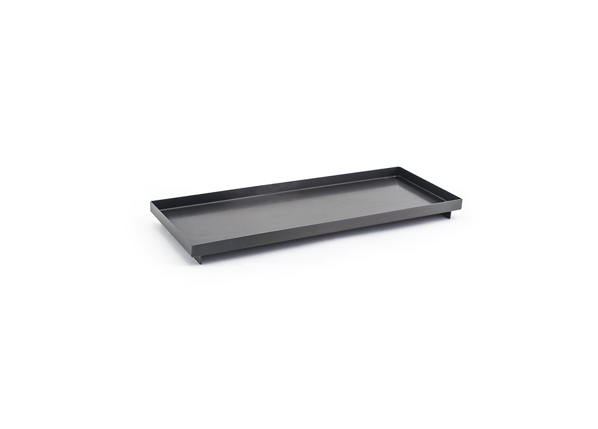 "12.25"" x 4.75"" Brushed Stainless Amenity Tray - Matte Black"