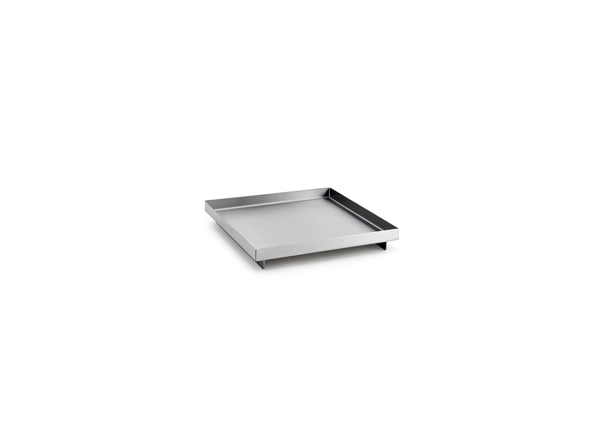 "6"" Square Brushed Stainless Amenity Tray - Silver"