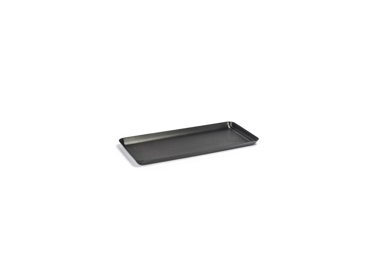 "10"" x 4.5"" Brushed Stainless Amenity Tray - Matte Black"
