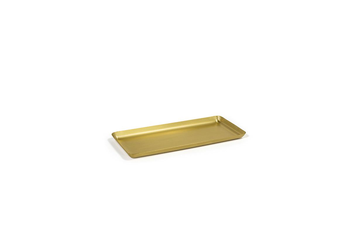 "10"" x 4.5"" Brushed Stainless Amenity Tray - Matte Brass"