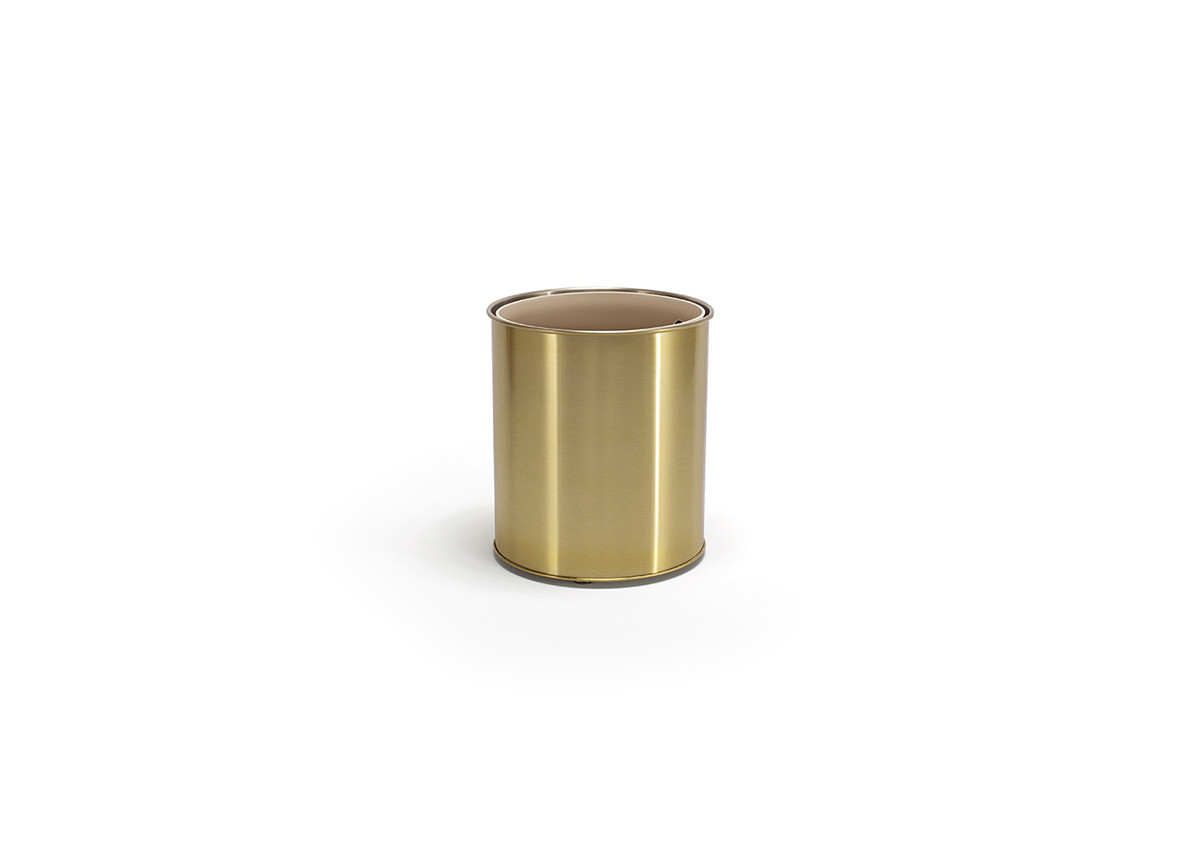 7qt Brushed Stainless Cylinder - Matte Brass