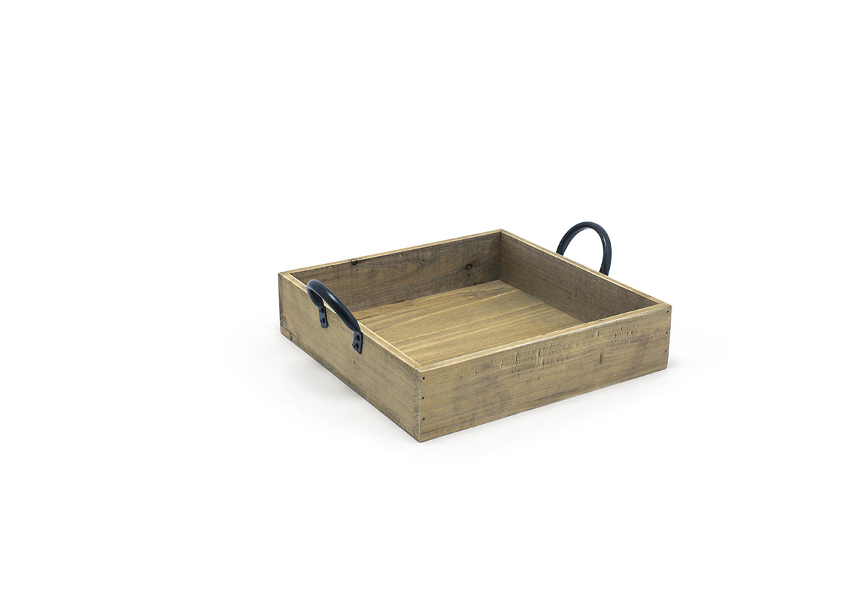 "9.75"" Square Asheville Wood Box - Natural"