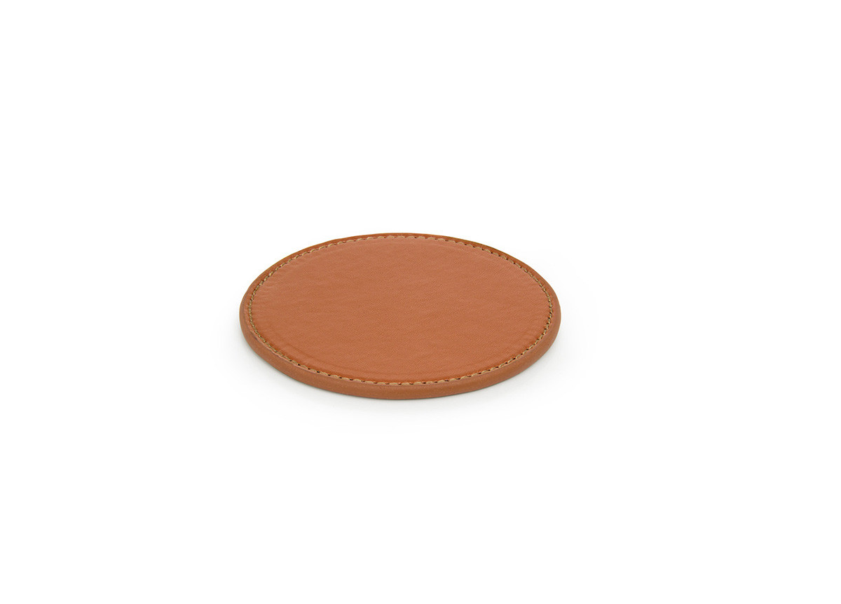 Faux Leather Coaster - Saddle