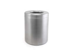 "5.75"" Round Brushed Stainless Table Top Waste Bin - 86oz - Silver"