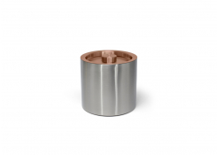 3qt Round Brushed Stainless Ice Bucket - Silver With Rose Gold Lid