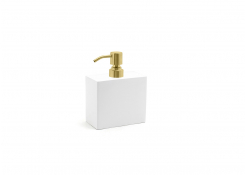 28oz New York Soap Pump - Snow with Matte Brass Pump